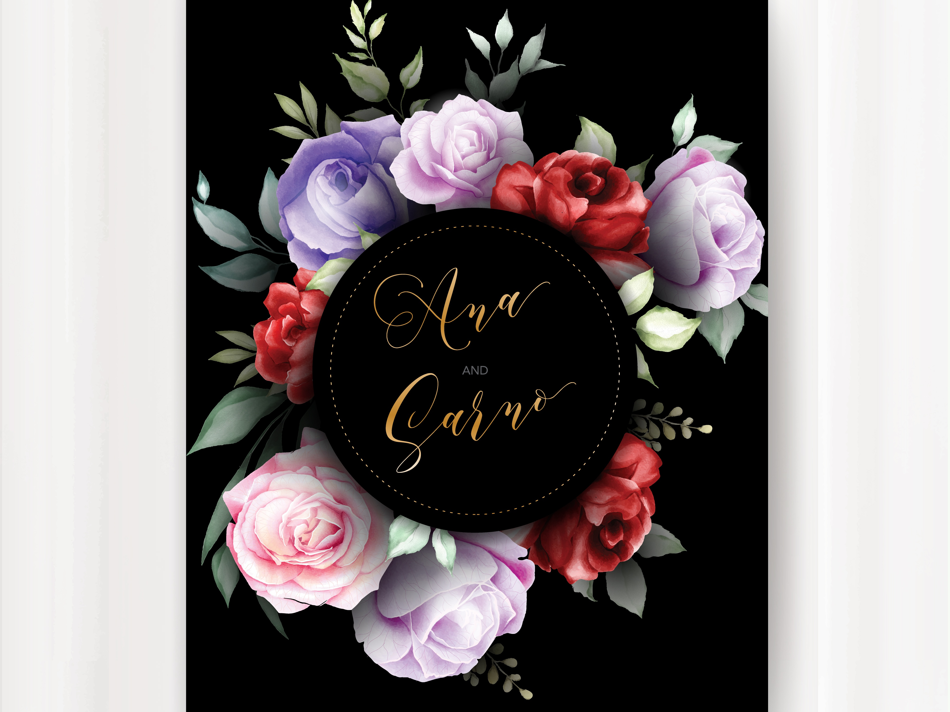 Wedding Invitation Card With Black Background Floral By Volcebyyou