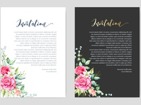 wedding invitation card with watercolor floral and leaves