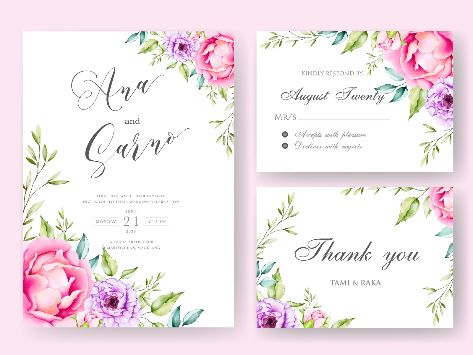 wedding invitation card with black background floral