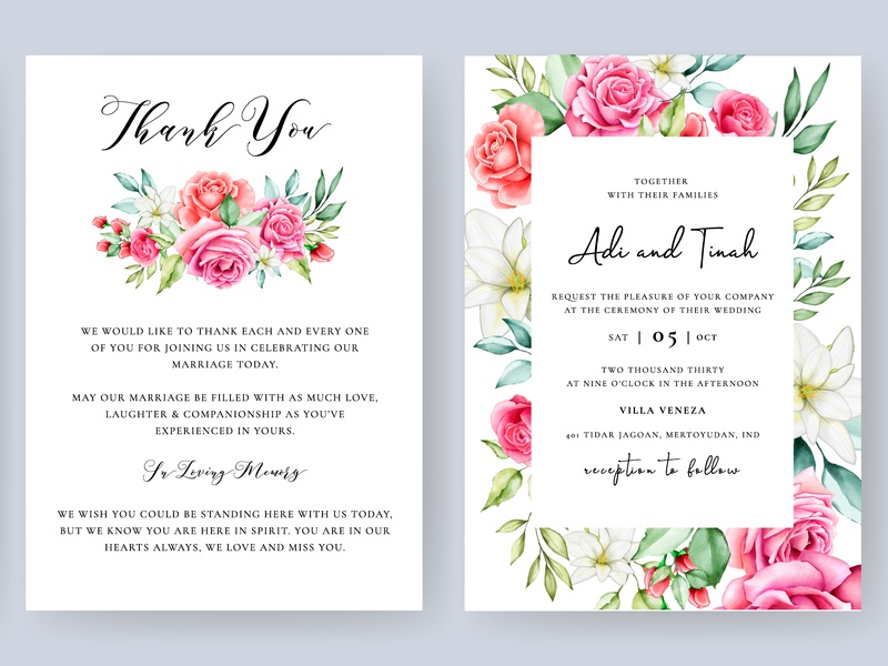 Elegant Watercolor Floral Wedding Invitation Template By Volcebyyou