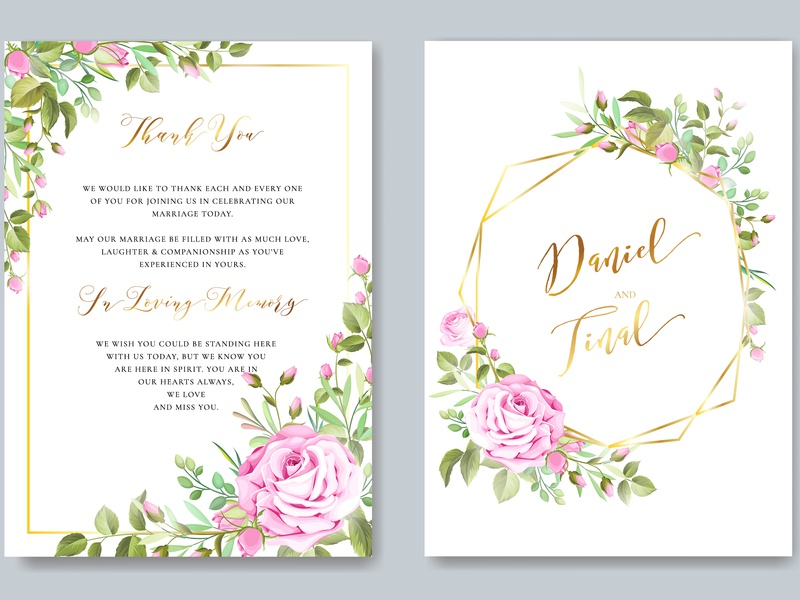 Wedding Ornament With Beautiful Invitation Card Template By
