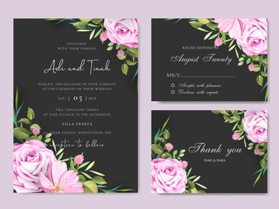 Wedding ornament with beautiful invitation card template