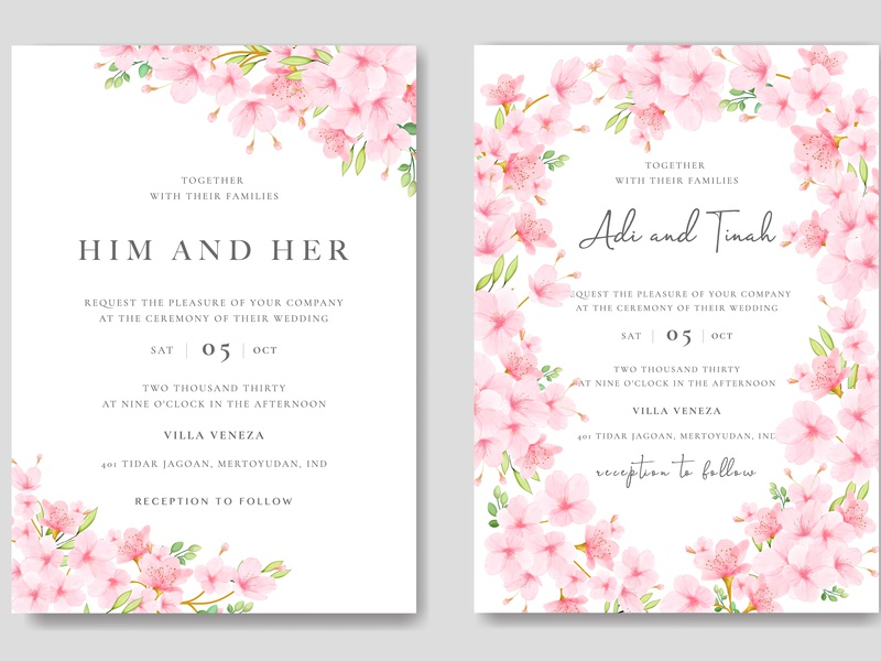 Beautiful Cherry Blossom Invitation Card Template By