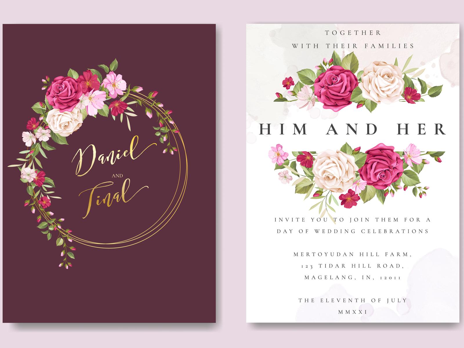 beautiful maroon roses invitation card template