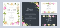 wedding invitation card with beautiful flowers and leaves