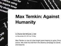 Max Temkin: Against Humanity