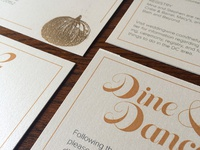dine & dance embossing wedding invites