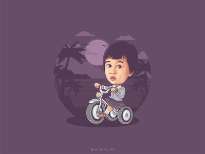 Tata Cycling sunset cycling child indonesia photomanipulation cartoon graphicdesign design illustration coreldraw portrait lineart vector