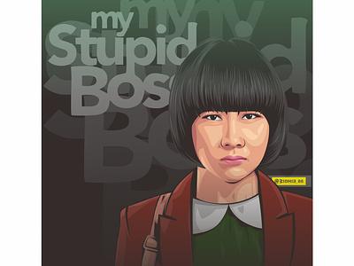 My Stupid Boss cartoon girl indonesian photomanipulation design illustration coreldraw lineart portrait vector