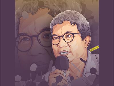 Nursamad Kamba graphicdesign cartoon design photomanipulation illustration indonesia portrait coreldraw lineart vector rip