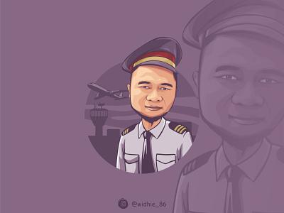 The Captain coreldraw photomanipulation graphicdesign indonesian cartoon illustration portrait lineart vector pilot captain