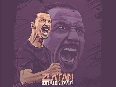 Zlatan Ibrahimovic football photomanipulation indonesia portrait illustration coreldraw lineart vector soccer serie a ac milan ibrahimovic