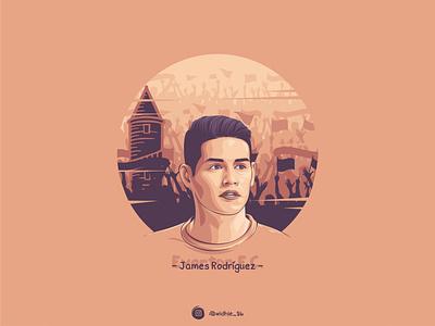 James Rodriguez cartoon graphicdesign indonesia illustration everton premierleague soccer photomanipulation coreldraw lineart portrait vector