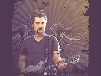 Eddie Van Halen indonesia portrait design cartoon graphicdesign photomanipulation illustration coreldraw lineart vector