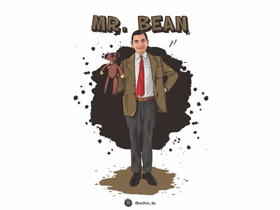 Rowan Atkinson graphicdesign mr mr.bean photomanipulation cartoon indonesia illustration coreldraw lineart vector