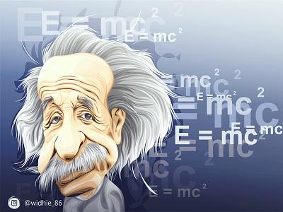 Albert Einstein cartoon illustration caricature vector physics