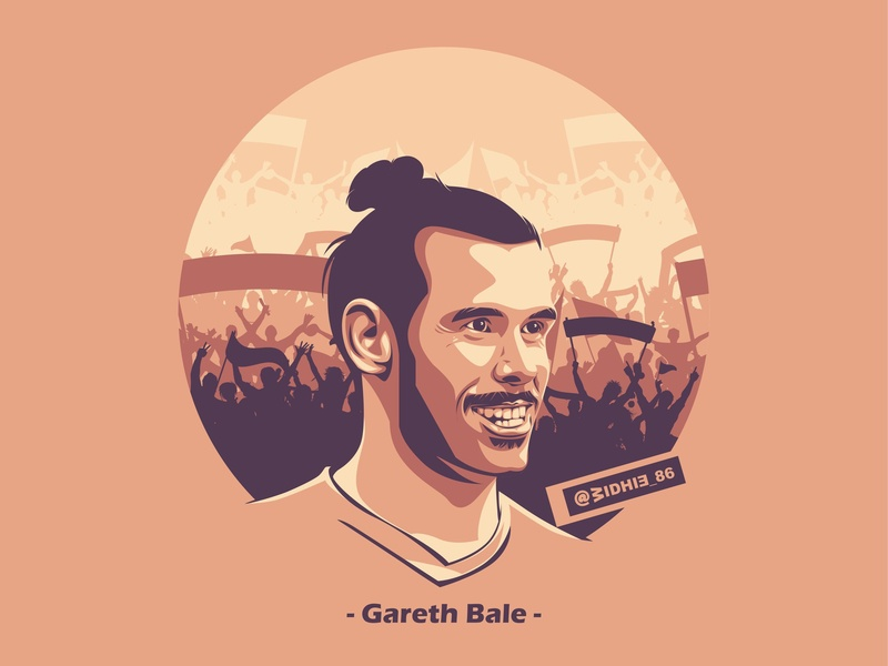 Gareth Bale manchester united tottenham realmadrid illustration cartoon football lineart soccer