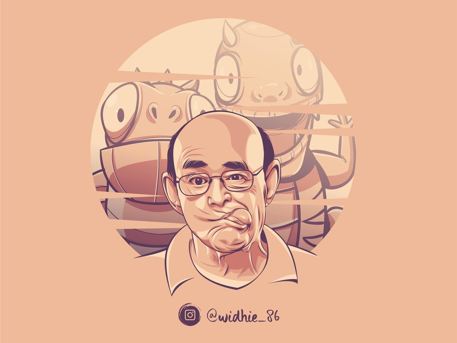 Bald design cartoon coreldraw indonesia illustration lineart portrait vector