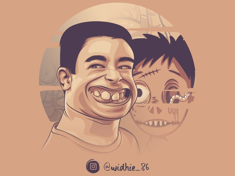 Funny Zombie cartoon indonesia design illustration coreldraw portrait lineart vector
