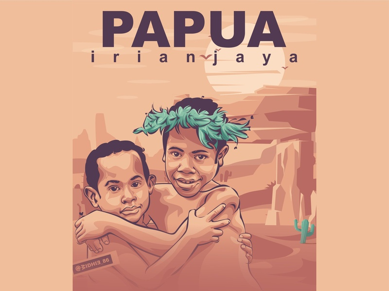 Papua Kids papua kids indonesia design illustration coreldraw portrait lineart vector