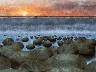 Bowling Ball Beach, digital painting photoshop ocean clouds sunset blending painting rocks beach