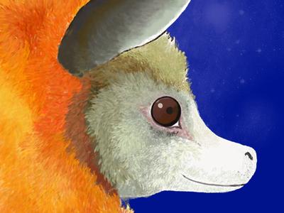 Bat portrait painting fruit bat wildlife fur painting bat