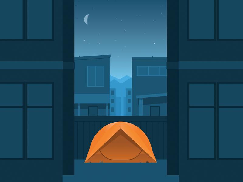 Camp Hope tent city illustration urban city backyard camping covid19 coronavirus poster cmyk