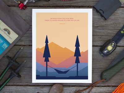 Between Two Pines Hammock hammock john muir quote trees mountains outdoors design vector poster illustration