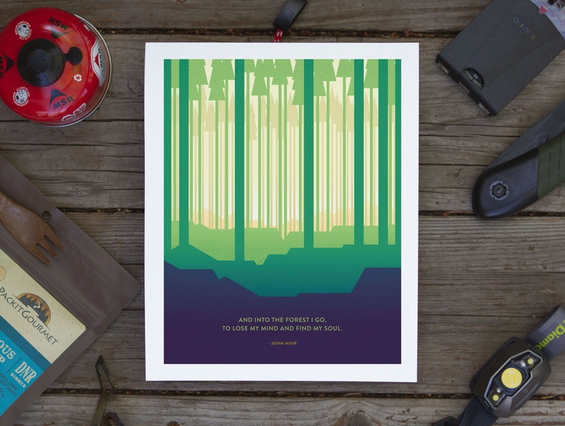 Find My Soul Poster backpacking camping quote john muir trees woods outdoors design poster illustration