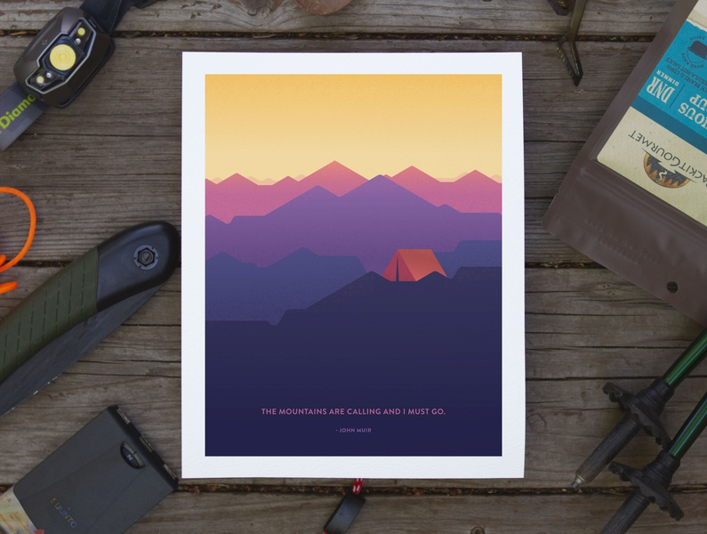 Mountains Are Calling Poster quote john muir skyline tent backapcking camping mountains design vector poster illustration