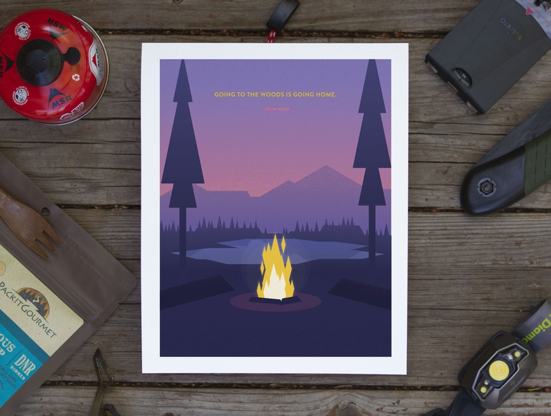 Going Home Poster john muir quote trees backpacking camping campfire design vector poster illustration