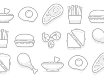 O-Zee Icons dip shrimp sandwich chicken hamburger fries food vector icons branding sauce packaging