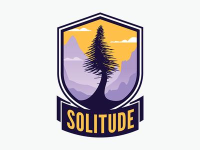 Solitude game mark gradient halftone mountains tree badge video game gamer logo team overwatch