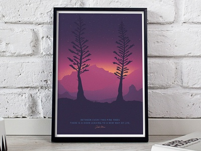 Two Pines mountains dusk sunset trees hammock hiking camping illustration poster backpacking