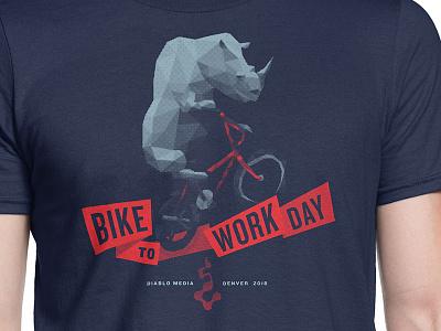 Bike to Work Day 2018 bmx bike shirt design halftone polygons tshirt bicycle bike to work denver rhino bike