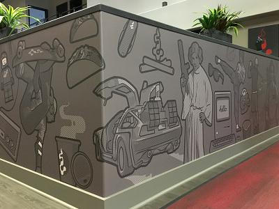 Pop Art Office Mural office space branding movies lego skateboard star wars delorean 80s vinyl halftone pop art mural