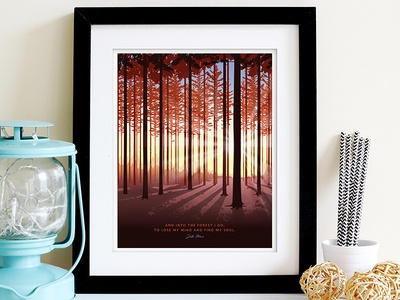 Into the Forest national parks nature camping backpacking etsy print forest john muir