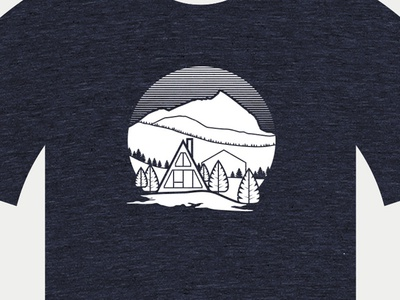Created Butte Tee trees vector scene gradient illustration house a frame crested butte mountain shirt tshirt