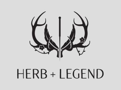 Herb+Legend Logo branding logo plant flower needle antlers medicine acupuncture