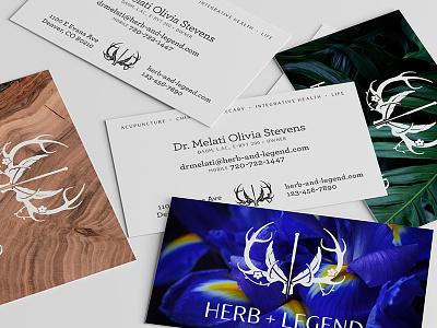 Herb+Legend Business Cards branding logo plant flower needle antlers medicine acupuncture