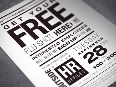 Typographic Flu Shot Flyer flyer typographic helvetica monotone grid