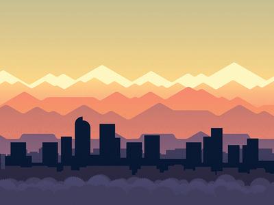 Mile High Sky vector poster city skyline denver