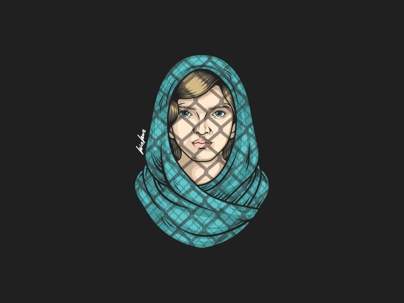 Refugee drawing war logodesign logo beautiful girl vector illustration vectorart illustration icon emblem beast design badge logo badass