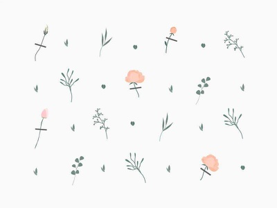 Pattern for flower delivery ios app pastel gentle flat nude plant natural flowers illustration pattern