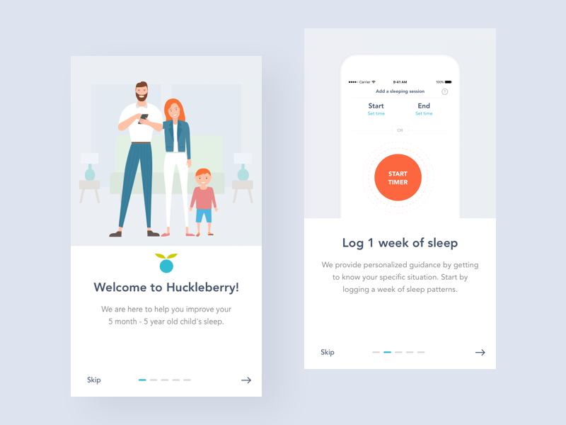 Huckleberry: Sleep Improvement for Families analyse sleep children child family traker timer ios onboarding interface illustration app