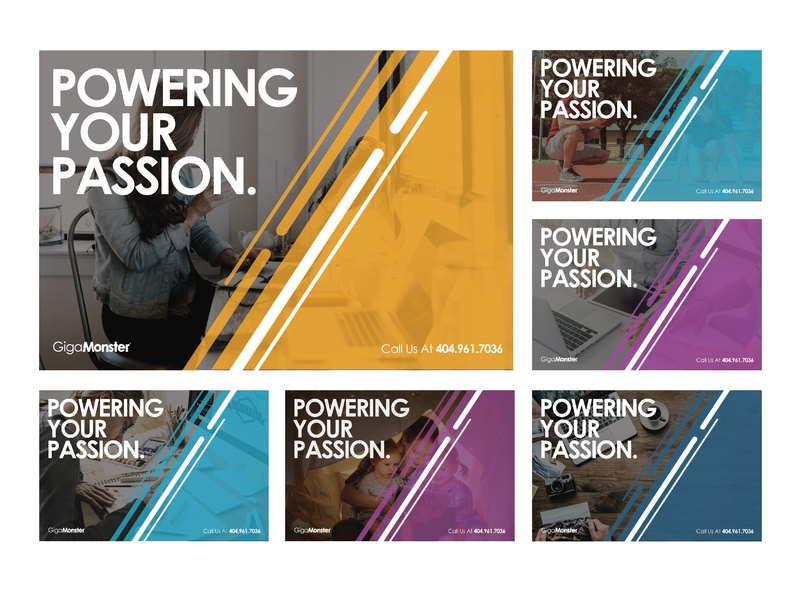 Powering Your Passion | GigaMonster typography atlanta gigamonster internet technology postcard conceptual branding creative modern illustrator design