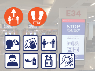 DFW Airport Covid-19 icons aviationdesign aviationdesign aviation lochner illustration vector covid-19 wayfinding airport dallas dfw