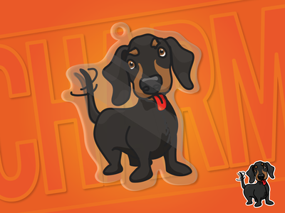 My little charm design dribbble drawing charms dog vector design competition stickermule dachshund illustration