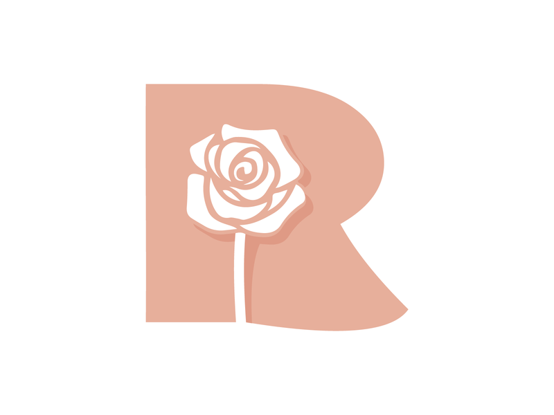 R is for Roos (Rose) babygirl rose icon design logo vector illustration