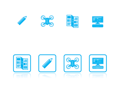 RMS web icons 2020 print pc drone pencil webdesign icon branding design vector illustration